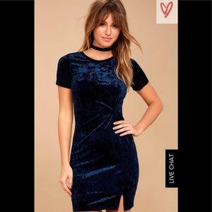 NWT Sz L Sage The Label Navy Crushed Velvet Dress
